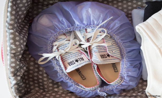 Travel Hacks - Packing Shoes in Shower Cap